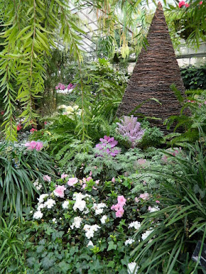 Massed white azaleas and ornamental kale at the 2018 Allan Gardens Conservatory Winter Flower Show by garden muses--not another Toronto gardening blog