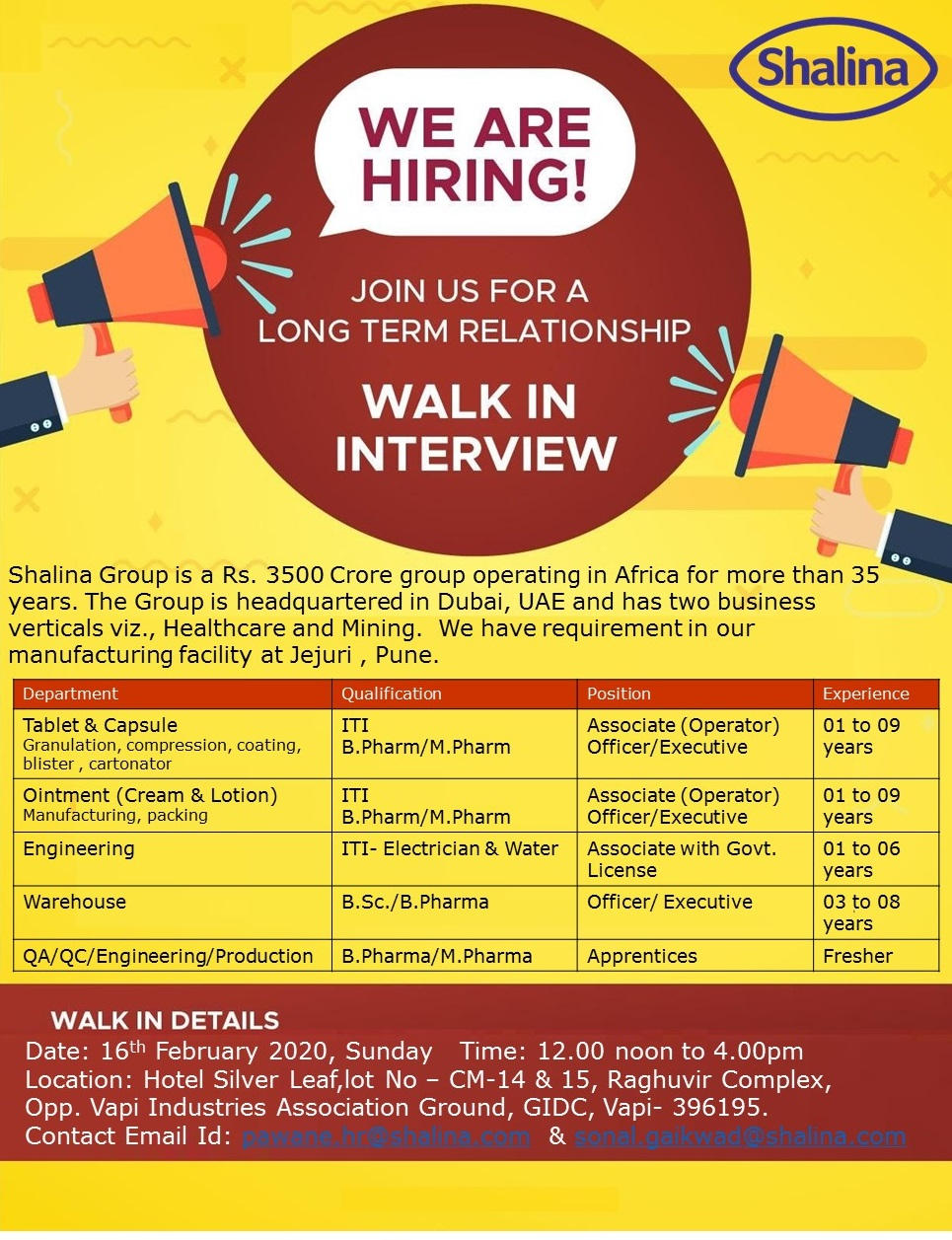 Shalina - Walk in interview for Production, QA, QC, Engineering, Warehouse - Fresher & Experienced on 16th Feb 2020