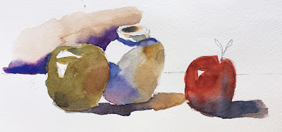 watercolor still life exercise on Strathmore 500 cold press paper with Escoda Versatil 6 round travel brush