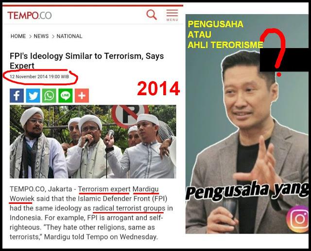 MAKIN TERBONGKAR... Jejak Mardigu Wowiek Sebut FPI Memiliki Ideologi Sama Dengan Kelompok Teroris