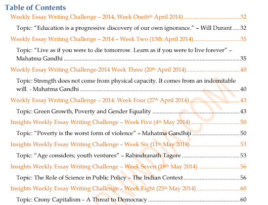 prospectus on upsc essay Language: one of the indian languages, english, essay gk and current affairs: 2 papers on general studies optionals: papers from two subjects that fall in optional-1 and two papers from optional-2 (a choice of subjects is listed by the upsc in the prospectus) candidates who are successful in the main examinations are eligible for an interview.