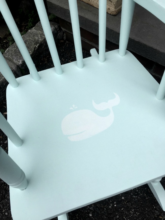 stenciled whale on rocking chair