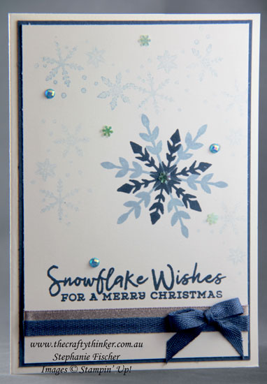 #thecraftythinker #xmascard #snowflakewishes #stampinup #cardmaking , Snowflake Wishes, Simple Christmas Card, #simplestamping, Stampin' Up Demonstrator, Stephanie Fischer, Sydney NSW