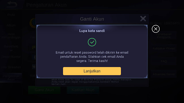 cara ganti password Moonton mobile legends