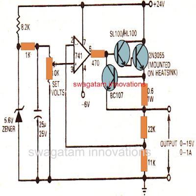 Regulated Power Supply Circuit using IC 741