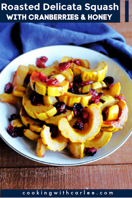 This roasted delicata squash is the perfect fall side dish. It is just a little sweet from the honey and a little tart from fresh or frozen cranberries. Plus there is a hint of citrus to bring it all together. It brings bright gem tones to you dinner plate and loads of flavor too!