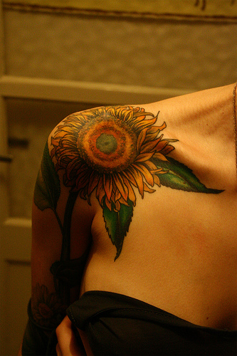 Colorful Shoulder Sunflower Tattoo