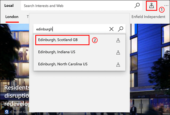 في علامة تبويب Microsoft News Local ، انقر فوق رمز الموقع ، ثم ابحث عن موقع وانقر فوقه