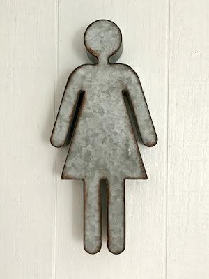 galvanized woman's bathroom sign