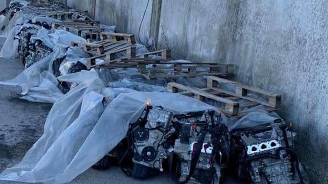 164 κλεμμένοι κινητήρες αυτοκίνητων εντοπίσθηκαν σε συνεργείο