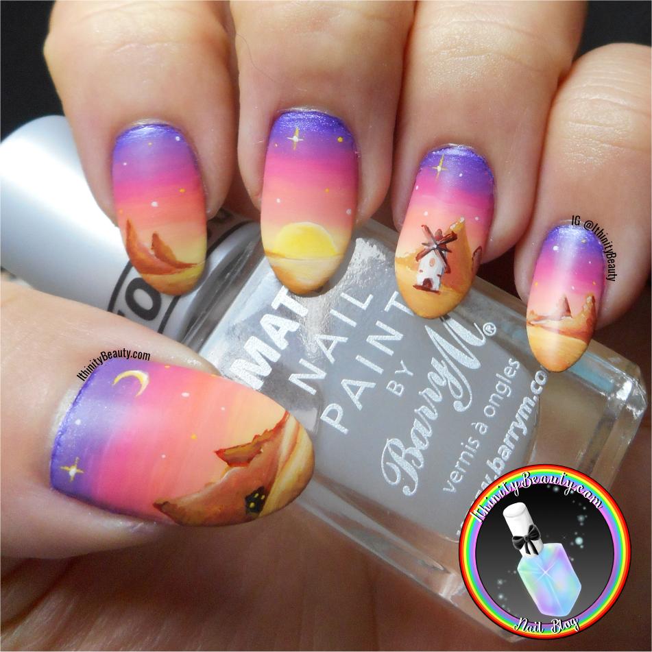 Freehand Desert Sunset Windmill Nails Ithinitybeauty Nail