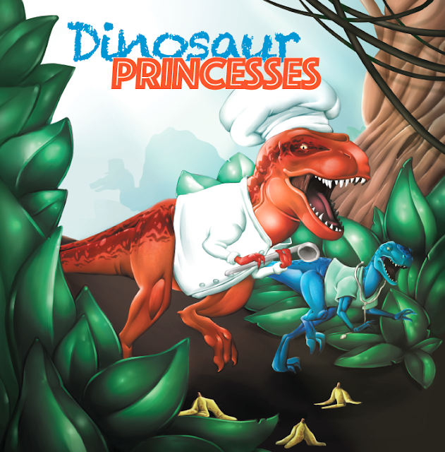 "A t-rex and smaller dinosaur storm through the jungle in doctor outfits while avoiding banana peels. Text ""Dinosaur Princesses"""