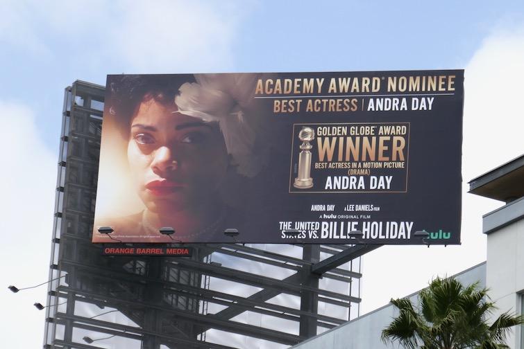 US vs Billie Holiday Andra Day Academy Award nominee billboard