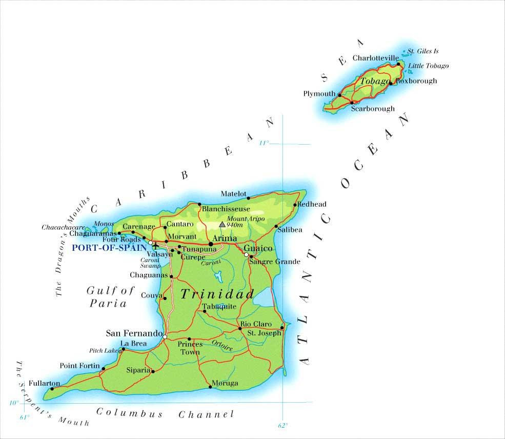 Mapas Geográficos de Trinidad e Tobago