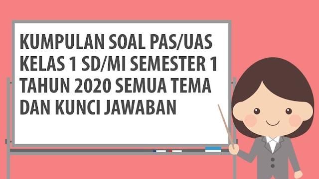 Download Soal PAS/UAS Kelas 1 SD/MI Semester 1 Tahun 2020
