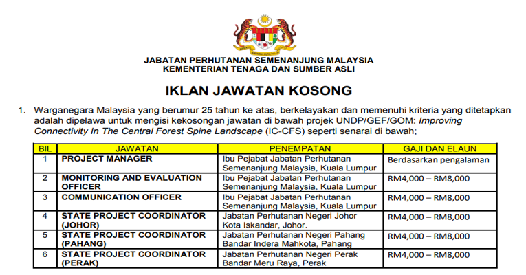 Kekosongan Terkini di Jabatan Perhutanan Semenanjung Malaysia