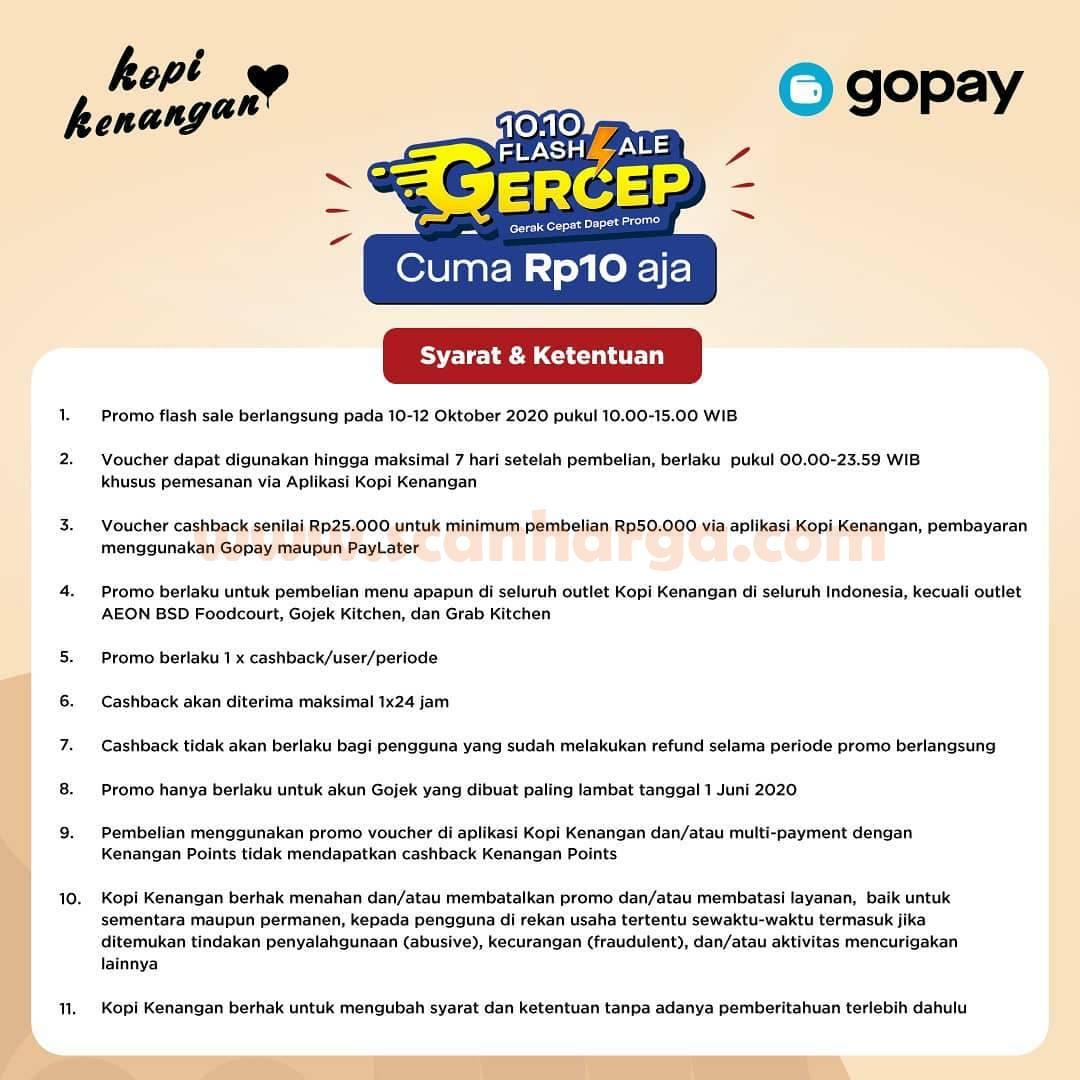 Promo Kopi Kenangan Gopay FLASH SALE 10.10 – Voucher Cashback GoPay Rp. 25.000 Cuma seharga Rp10 aja*