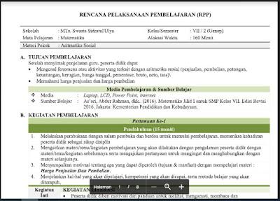 Download RPP Matematika Kelas 7 Semester 2