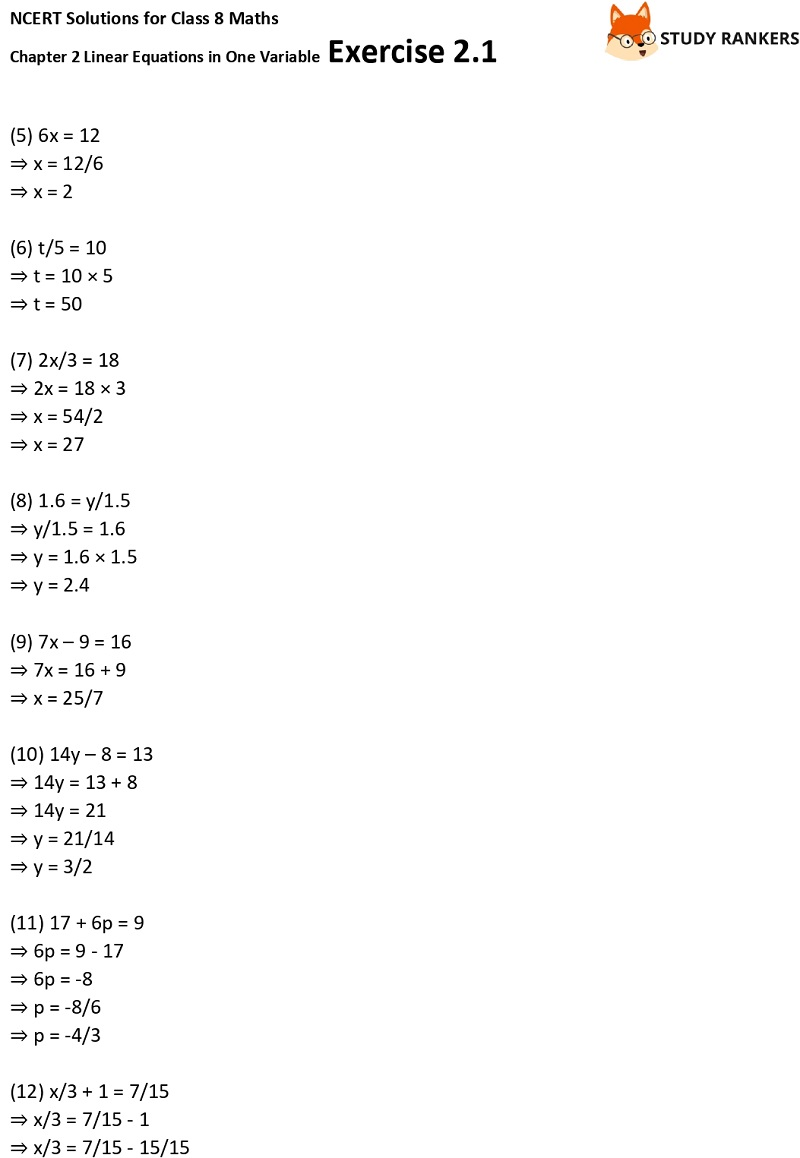 NCERT Solutions for Class 8 Maths Ch 2 Linear Equations in One Variable Exercise 2.1 2