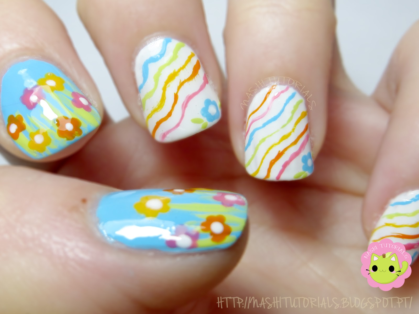 Nashi Tutorials Easter Nail Art Wavy Lines And Flowers