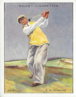 Golfer Philip Perkins cigarette card from the 1930s