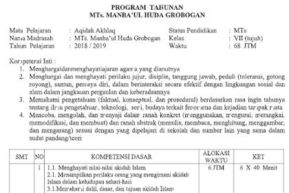 Program Tahunan Aqidah Akhlak Kelas 7 MTs Tahun Pelajaran 2021