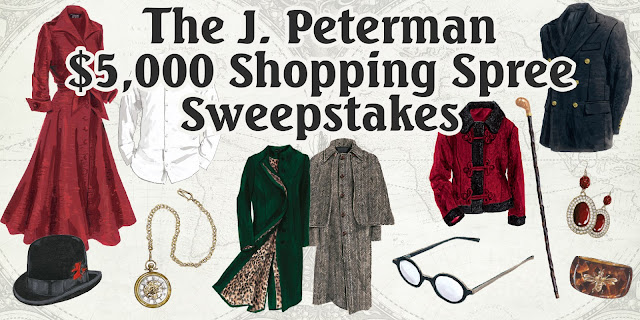 The J. Peterman Company wants you to enter daily for a chance to win a shopping spree worth $5000 to purchase cool and fashionable items from their 2016 Holiday catalog!