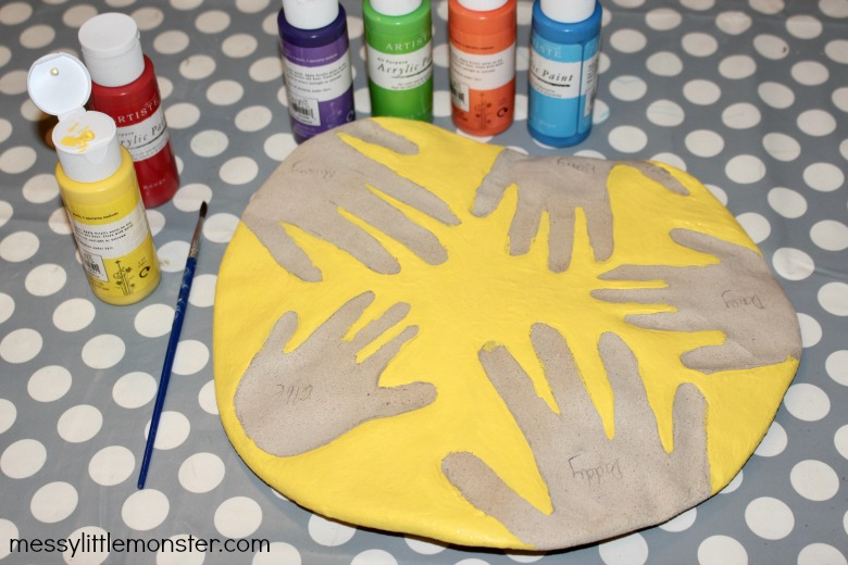Painting salt dough handprints