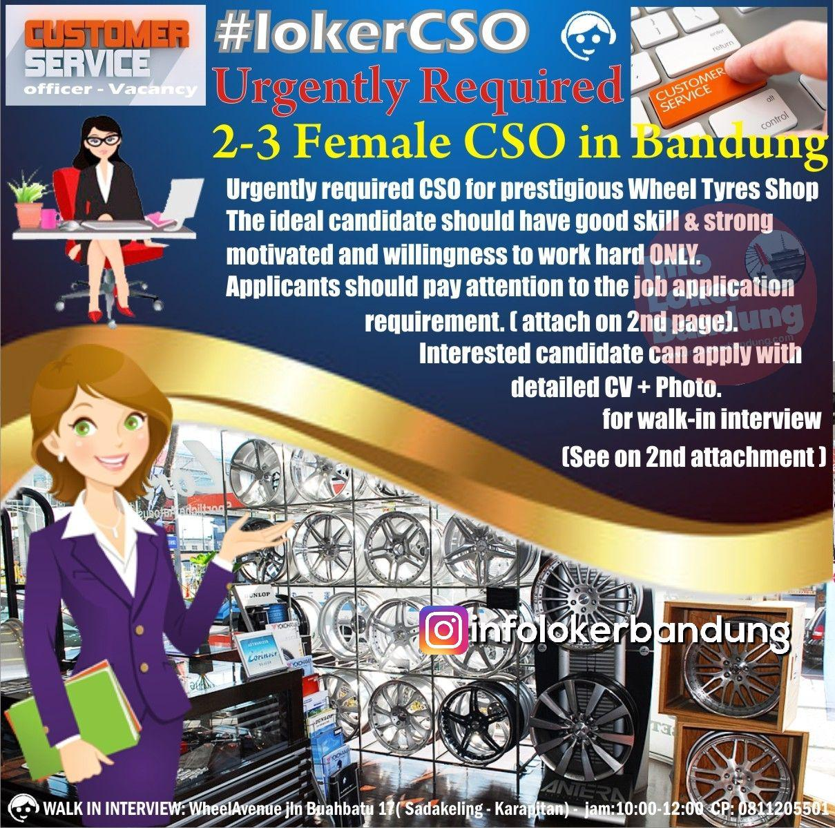 Lowongan Kerja Customer Service Wheel Avenue Bandung Februari 2019
