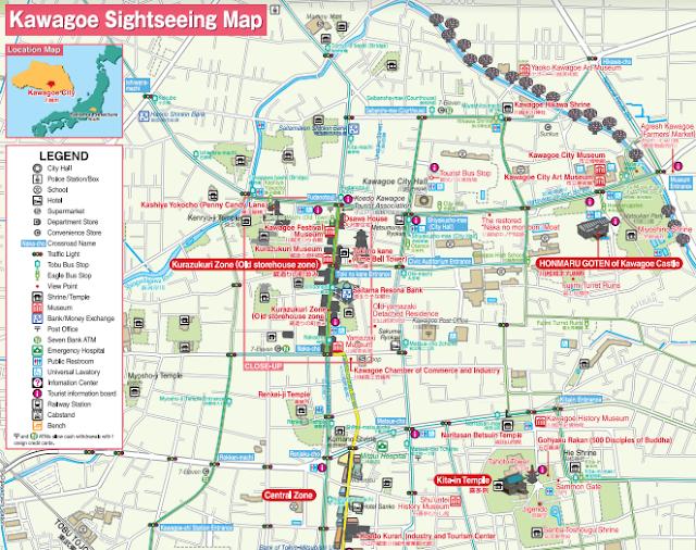 mapa turístico de Kawagoe
