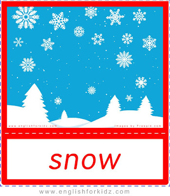 Snow, winter and Christmas flashcards