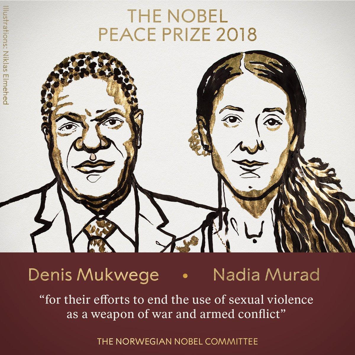 Denis Mukwege y Nadia Murad desnudaron el uso de la violencia sexual como arma de guerra / NOBEL PRIZE