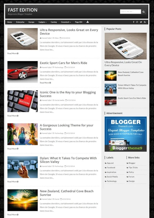 Top Free Fastest Loading Blogger Templates With Responsive Layout | Best Handpicked 2020