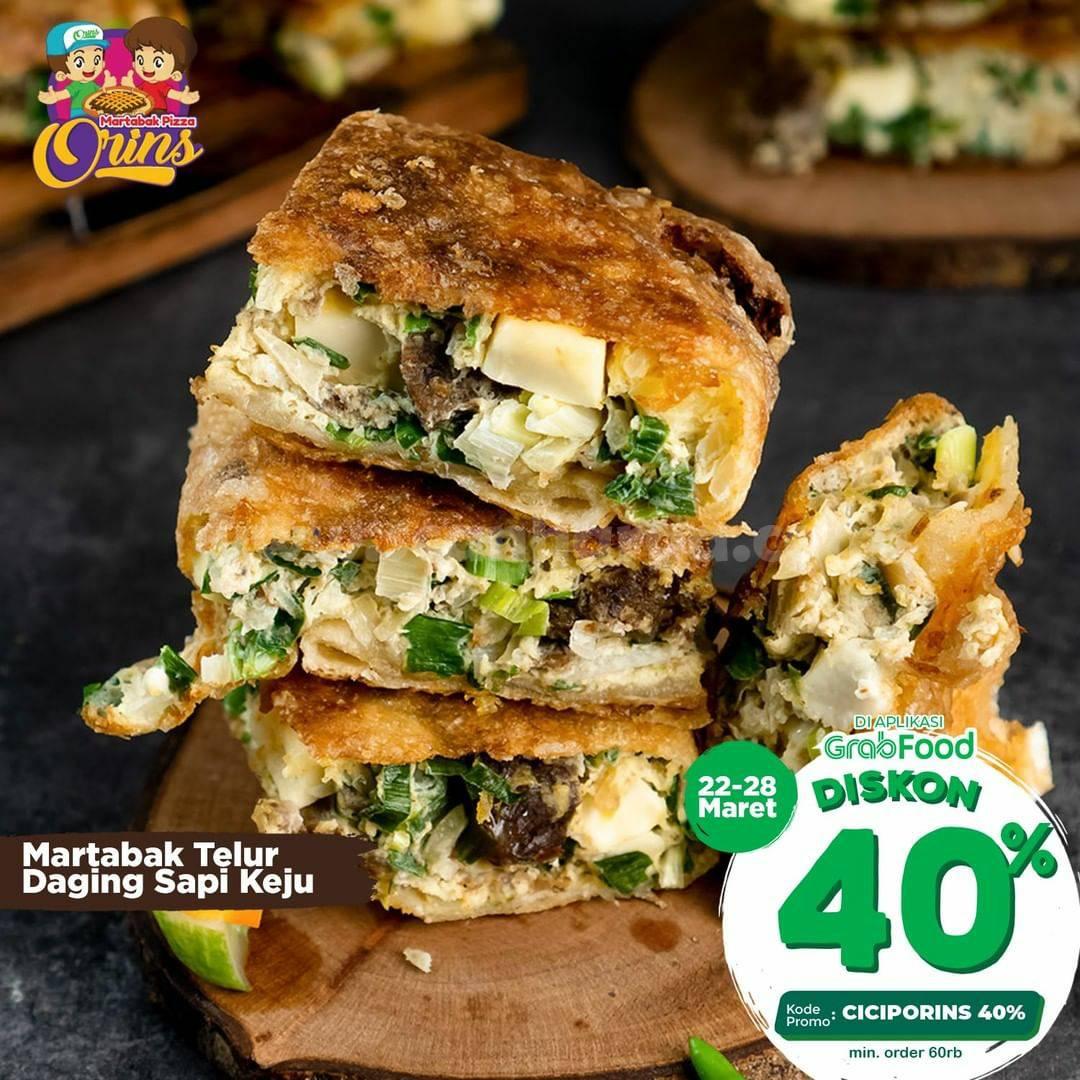 Martabak Pizza Orins Promo Diskon 40% via aplikasi GRABFOOD