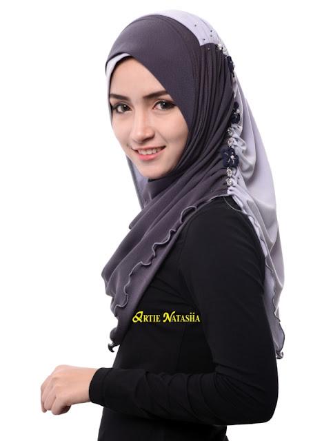 tudung desain terkini hijab aidilfitri 2015 Artie Natasha moss crepe