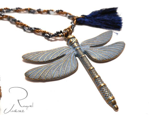 colgante, libélula, azul