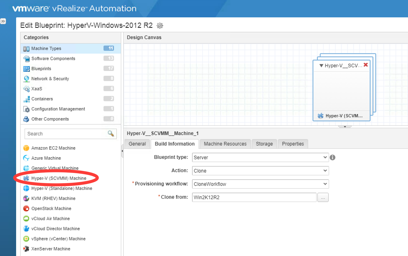 Vinsideout vrealize automation 73 integration with scvmm 2012 r2 create fabric group reservation tagged to a business group reservation policy etc and then move on to the blueprint design malvernweather Choice Image