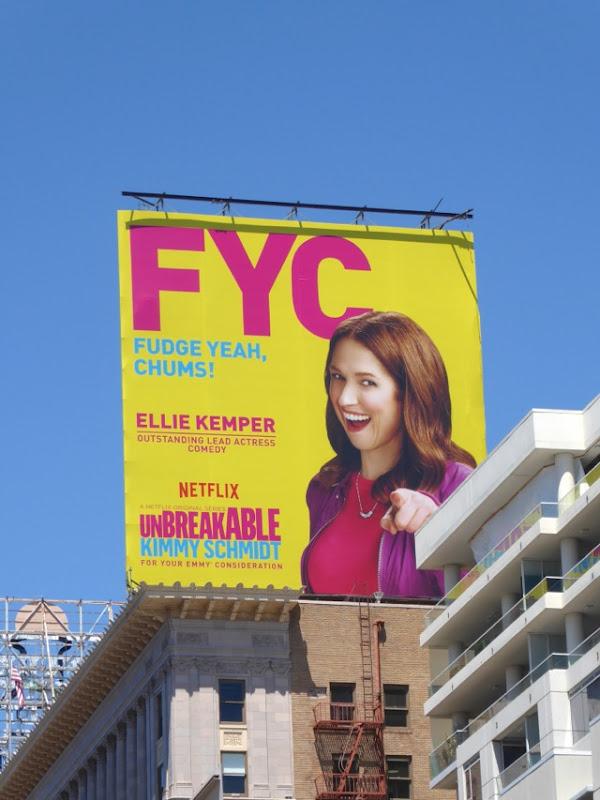 Kimmy Schmidt Fudge yeah chums Emmy billboard