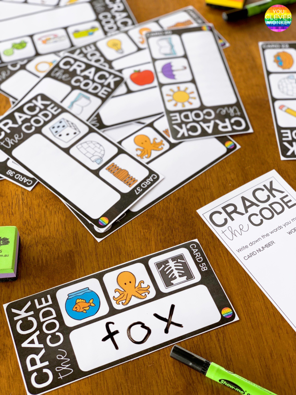 Crack The Code - CVC Word Cards | you clever monkey