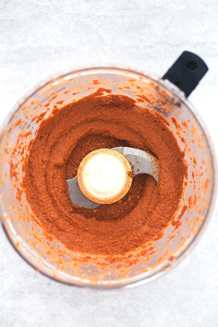 Muhammara Pepper and Walnut Vegetable Pate: Muhammara is a Syrian Pepper and Walnut vegetable pate. It is prepared in less than 5 minutes and has a very intense flavour. It is a delicious snack or starter.