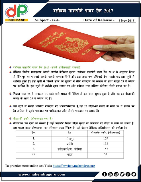 DP | IBPS RRB PO Mains Special : Global Passport Power Rank  |  07 - Nov - 2017