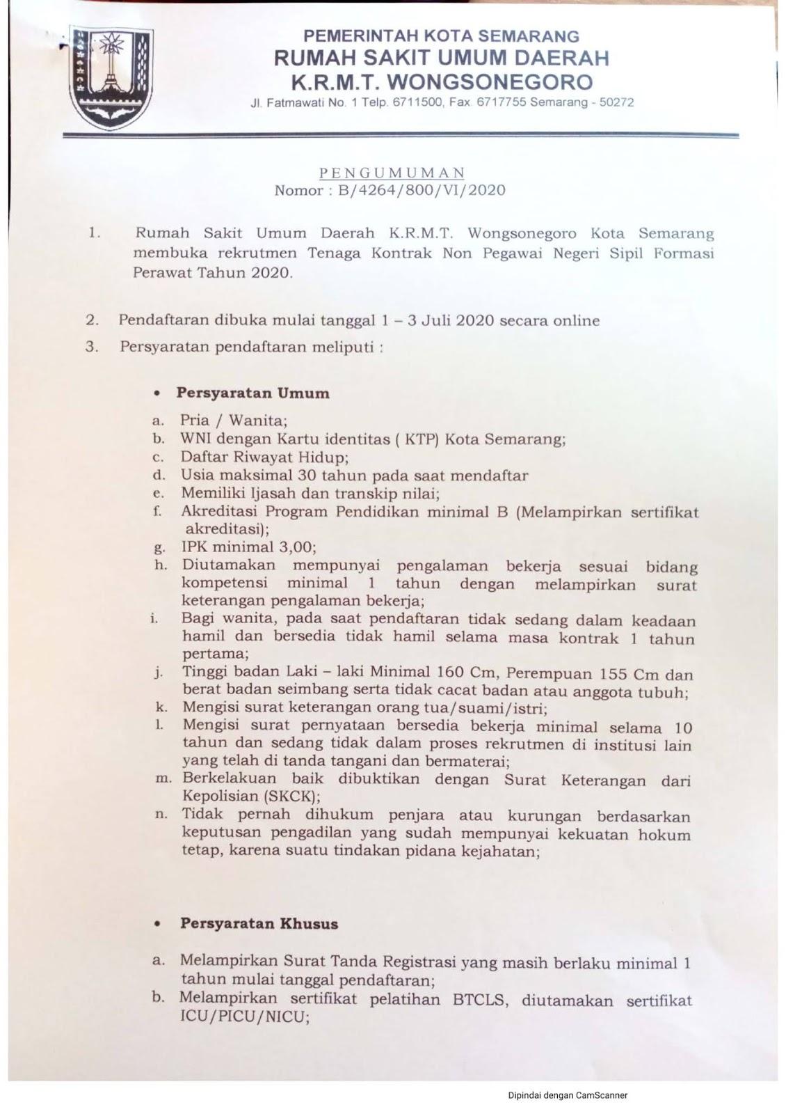 Lowongan Non PNS Rumah Sakit Umum Daerah RSUD K.R.M.T. Wongsonegoro Juli 2020