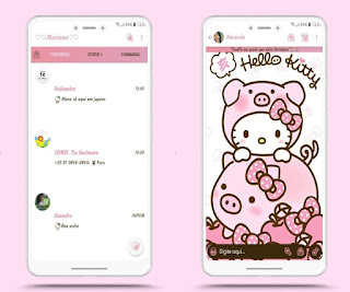 Hello Kitty & Pig Theme For YOWhatsApp & Fouad WhatsApp By Mary Silva