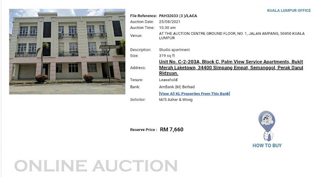 Rumah Lelong Ambank pada harga Rezab RM7,760