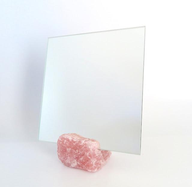 Vanity mirror (Square) with Rose quartz base made by Keri Muller (simpleintrigue.com)
