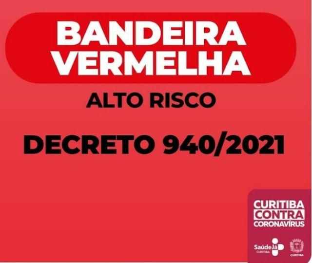 Curitiba entra em bandeira vermelha para conter contágio de Covid-19
