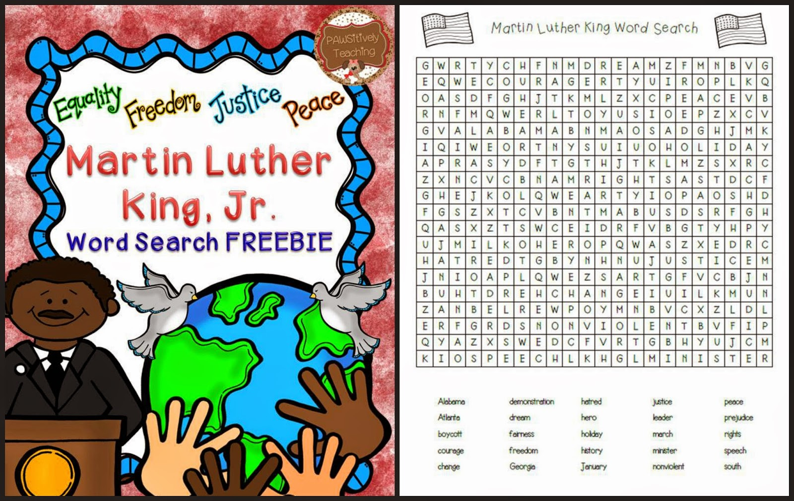 Classroom Freebies Too Martin Luther King Jr Word Search