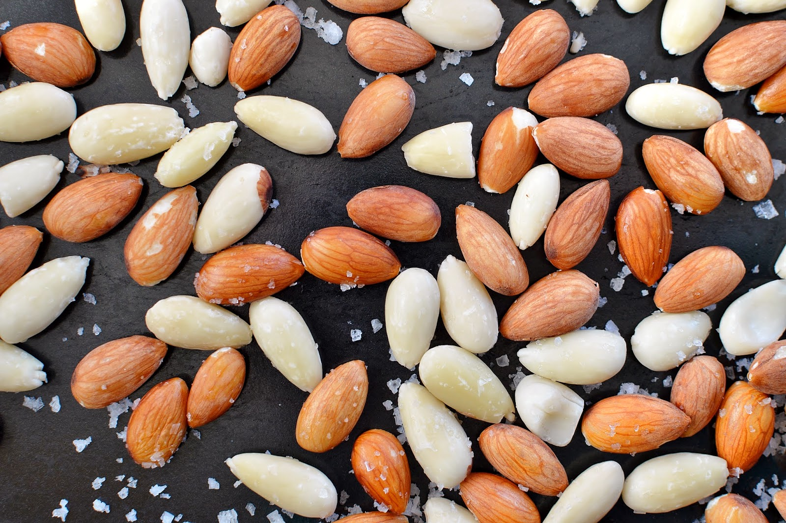 Sprinkle the almonds with sea salt before baking
