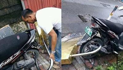 Viral Foto Sepeda Motor Mio Dipasang Gembok Raksasa Tuai Reaksi Seperti Ini