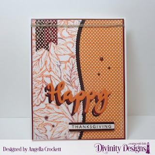 Paper Collection: Fall Favorites, Stamp/Die Duos: Happy, Stamp:  Leaf Background, Custom Dies:  Sentiment Strips, Pennant Flags, Leafy Edged Borders, Pierced Rectangles